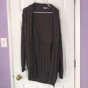 Thick gray cardigan